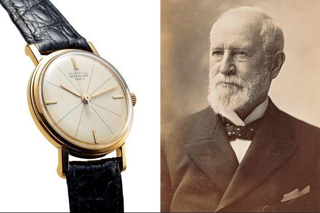 A g. : Patek Philippe Tiffany & Co en or de 1960, référence 3 423, vendue 13 000 € aux enchères à Hongkong par Antiquorum en 2015. A d. : Charles Lewis Tiffany fonde sa maison en 1837 et inaugure sa manufacture horlogère en 1874.