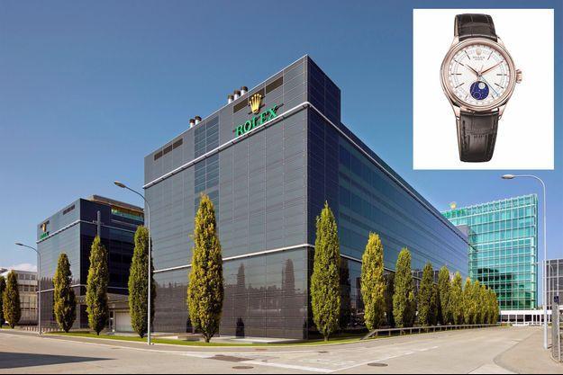 Le siège de Rolex à Genève et, en médaillon, la Cellini Moonphase en or rose.