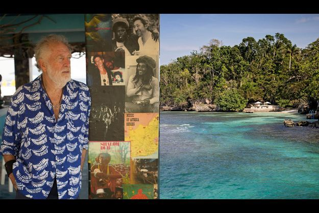 Chris Blackwell au BizotBardeGoldenEye dont les piliers sont décorésdescouvertures de sa collection de vinyles. La plage où sebaignaitchaque jourIan Fleming etBlancheLindo, la mère de Chris.