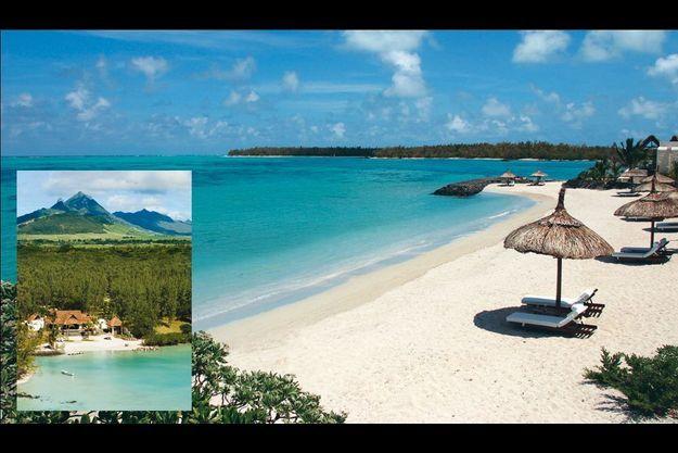 Vue sur la mer depuis l'hôtel. En médaillon, l'une des trois villas avec plage privée, qui accueillent Elton John, Zinedine Zidane ou Rafael Nadal.