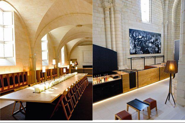 L'ancien réfectoire des moniales accueille aujourd'hui les convives du restaurant. A dr. La chapelle s'est convertie en bar.