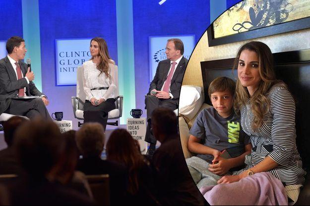 La reine Rania de Jordanie à New York, le 19 septembre 2016. A droite: avec son fils Hashem.