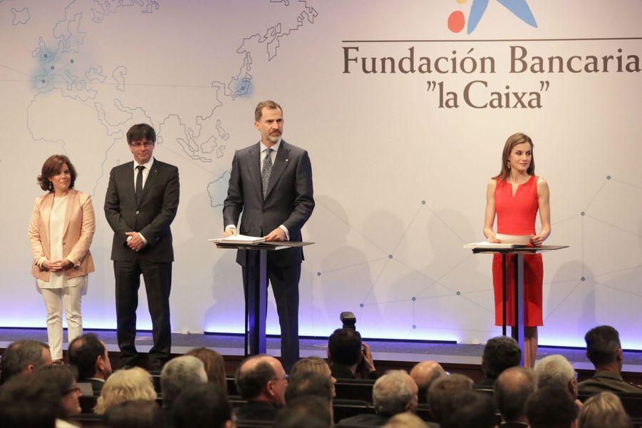 La reine Letizia et le roi Felipe VI d'Espagne à Barcelone, le 23 mai 2017
