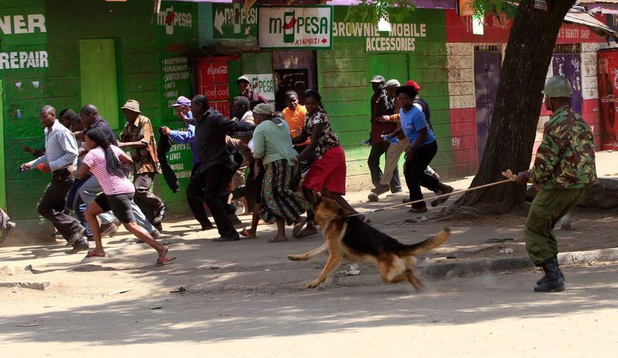 Un policier se sert de son chien pour faire fuir des manifestants à Nairobi, au Kenya. Pour la deuxième journée, le quartier d'Eastleigh a été témoin d'affrontements ethniques après une attaque à la bombe, dimanche.