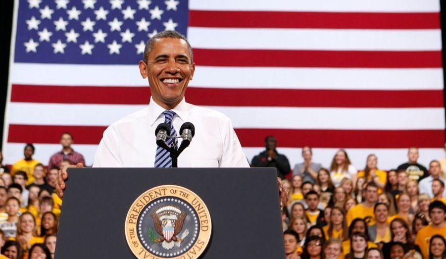 Le président des Etats-Unis Barack Obama donnait un discours sur les coûts de la vie étudiante à l'Université d'Iowa, à Iowa City.