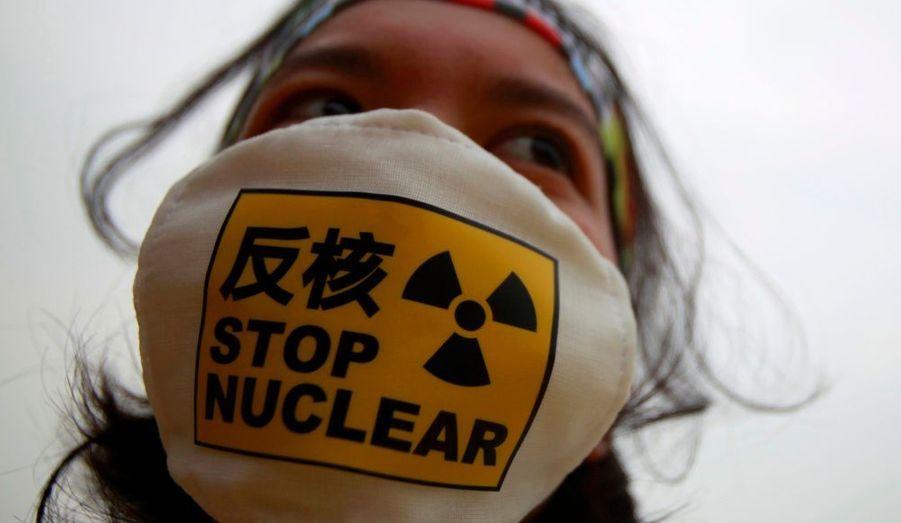 Dans le monde entier, on se mobilise pour mettre fin à l'exploitation de l'énergie nucléaire, comme ici à Taipeh, sur l'île de Taïwan.