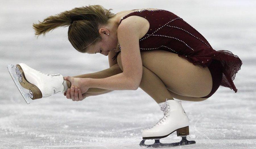 L'Irlandaise Clara Peters aux championnats du monde de patinage artistique qui se déroulent à Nice.