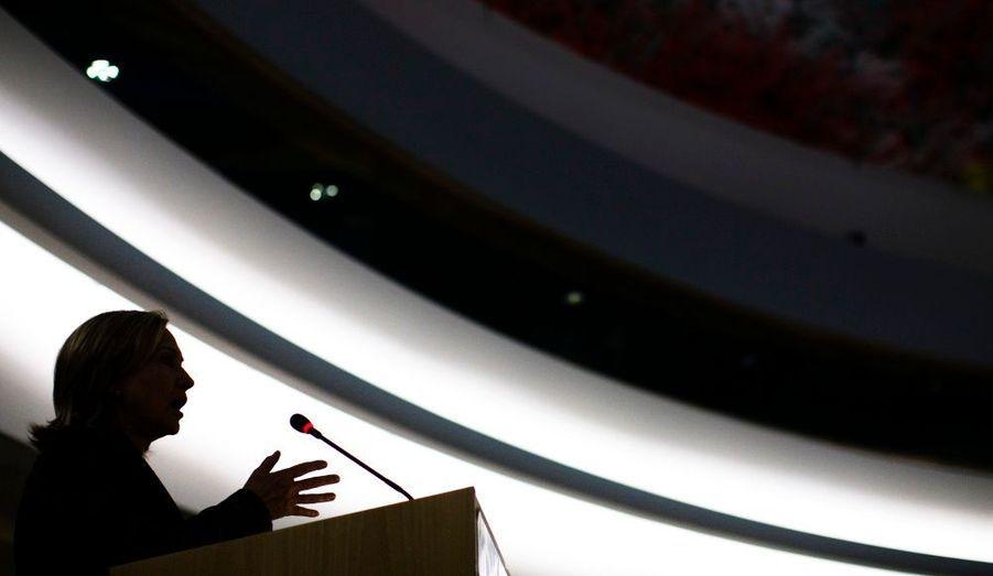 Hillary Clinton, secrétaire d'Etat américaine, prononce un discours face aux Nations Unies des Droits de l'Homme, à Genève.