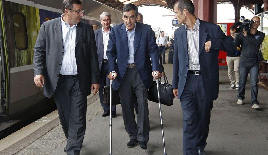 François Fillon, ex-Premier ministre et candidat à la présidence de l'UMP, se rend à Strasbourg pour participer à un meeting.