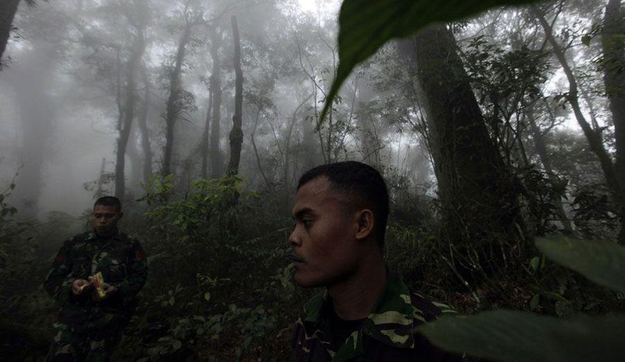 Dans les profondeurs de la jungle du mont Salak, en Indonésie, des soldats passent au peigne fin les lieux du crash d'un Sukhoi Superjet 100 russe. Ce avion régional à réaction, de conception récente, effectuait un vol de démonstration. Il s'est écrasé mercredi contre le flanc de la montagne. La probabilité que quiconque ait survécu est extrêmement faible.