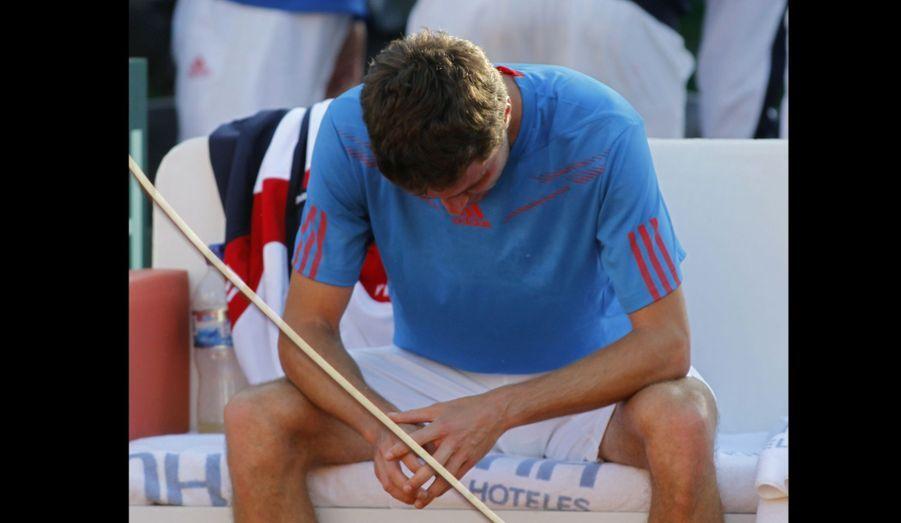 Gilles Simon a perdu le dernier match de simple qui l'opposait à Carlos Berlocq, lors du quart de finale de la Coupe Davis à Buenos Aires. Les Français ont été éliminés 3-2.
