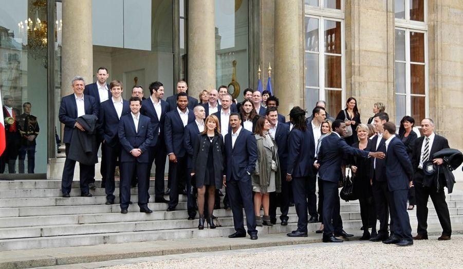 L'équipe de France de Handball, qui a remporté les championnats du monde le 30 janvier dernier, et son encadrement, ont été reçus ce lundi à l'Élysée.