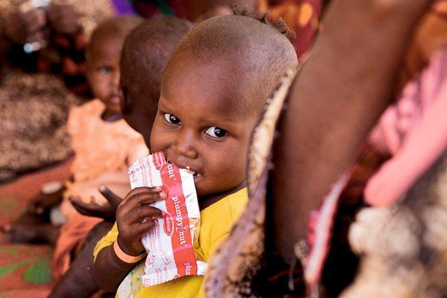 La malnutrition est responsable d'environ 60% des décès des enfants dans le monde. Devant cette situation insupportable, deux scientifiques français, André Briend (pédiatre nutritionniste) et Michel Lescanne (ingénieur agroalimentaire), ont mis au point une pâte à base d'arachide prête à l'emploi: le Plumpy'Nut.Son goût ressemble à celuidu beurre d'arachide en plus doux. D'une haute valeur nutritionnelle, cet alimentest reconnu par la FAO (Organisation des Nations unies pour l'alimentation et l'agriculture) comme nourriture thérapeutique. Aujourd'hui, 30000 tonnes de cette pâte sont utilisées chaque année sur le terrain humanitaire.