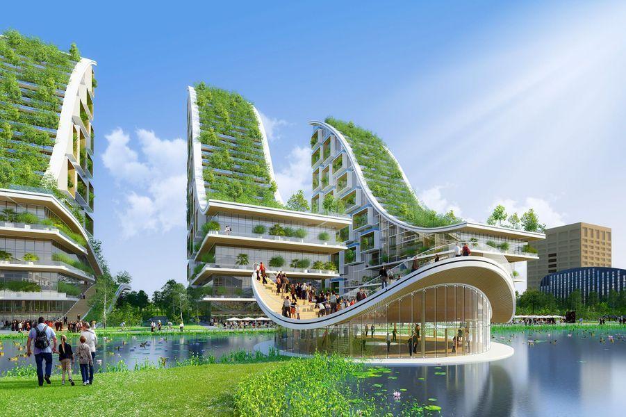 """Illustration des trois """"forêts verticales"""", qui accueilleront des logements."""
