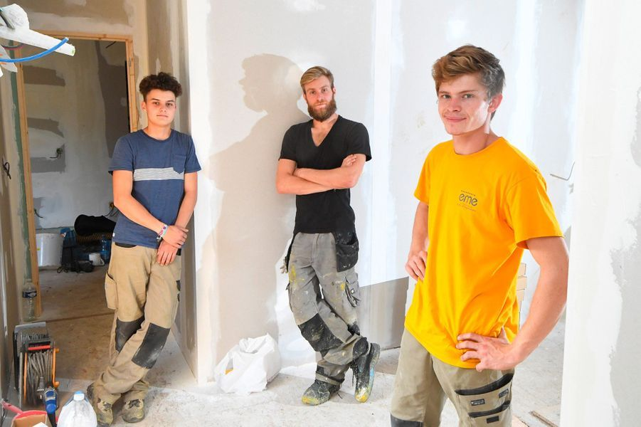 Lucas, Pierre et Martin sur leur chantier.