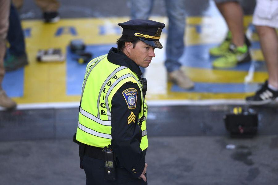 La sécurité renforcée à l'arrivée du marathon de Boston, le 18 avril 2016.