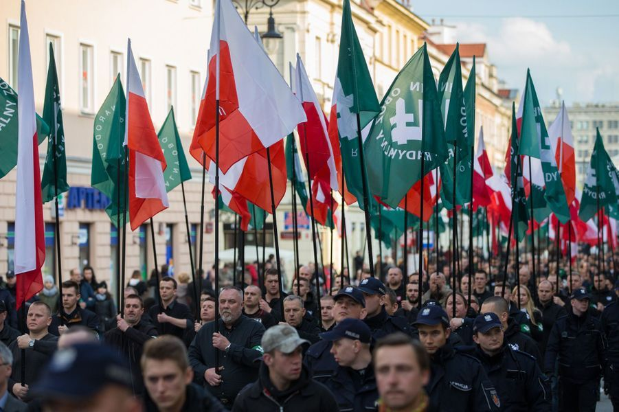 Manifestation du groupuscule d'extrême droite ONR à Varsovie, le 29 avril 2017.