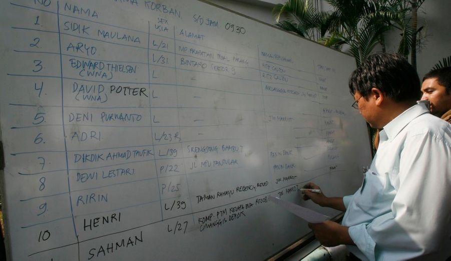 Un médecin note le nom des victimes transportées à l'hôpital de Djakarta sur un tableau.