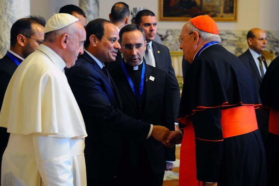 Le pape François et le président égyptien Abdel Fattah al-Sissi au Caire, le 28 avril 2017.