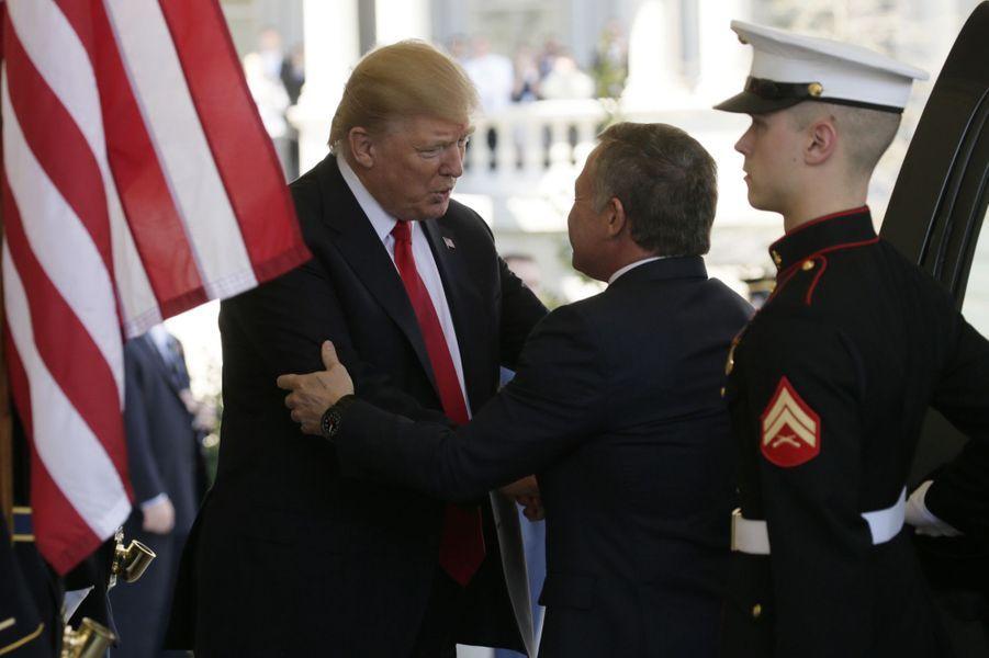 Donald Trump et le roi Abdallah de Jordanie à la Maison Blanche, le 5 avril 2017.