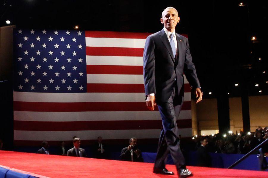 Barack Obama lors de son dernier discours à Chicago, le 10 janvier 2017.