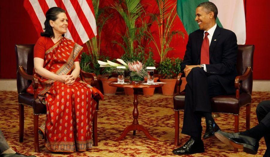 Avec Sonia Gandhi, présidente du Parti du Congrès