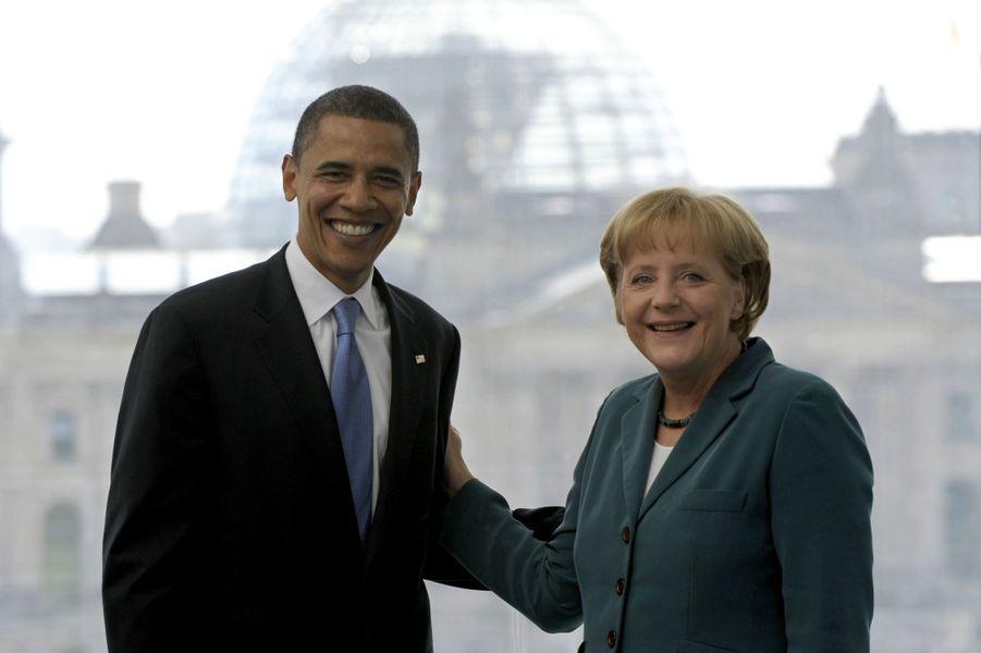 Barack Obama, alors candidat à la primaire démocrate, et Angela Merkel à Berlin, le 24 juin 2008.