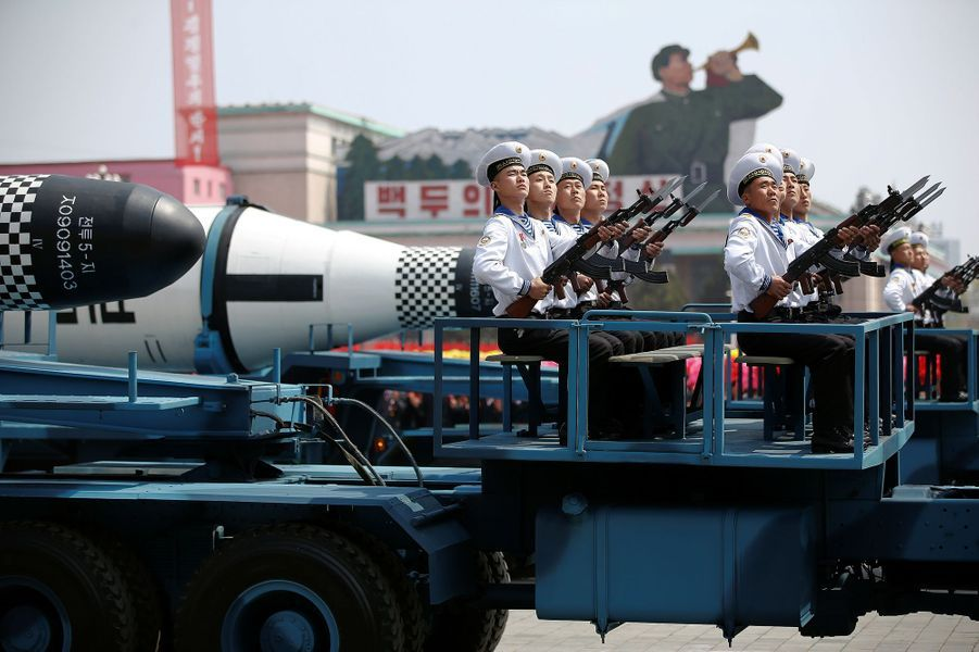 Défilé militaire à Pyongyang, le 15 avril 2017.