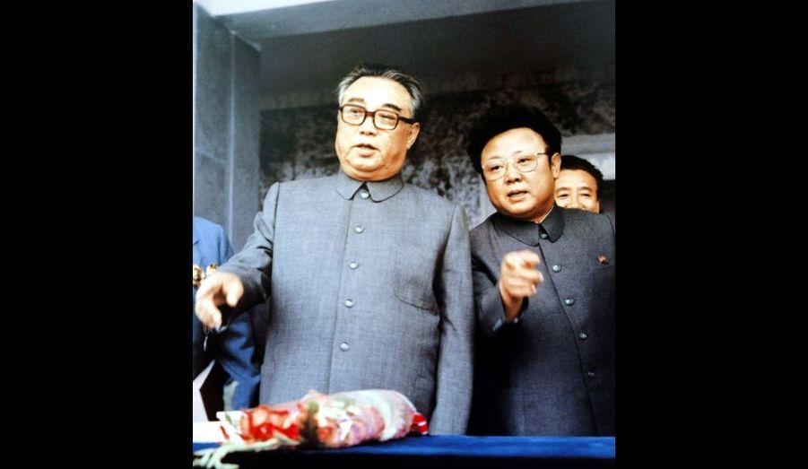 Kim Il-sung et Kim Jong-il en septembre 1983