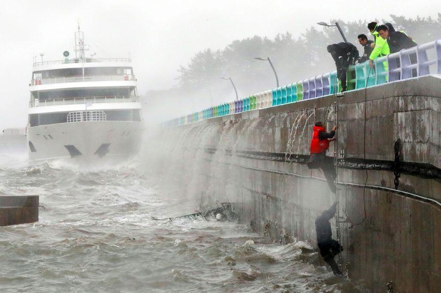 Le typhon a fait de gros dégâts au sud de la Corée du Sud