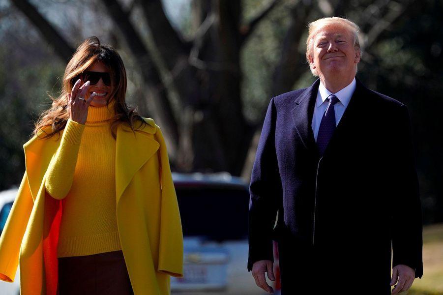 Donald et Melania Trump quittant la Maison-Blanche, le 5 février 2018.
