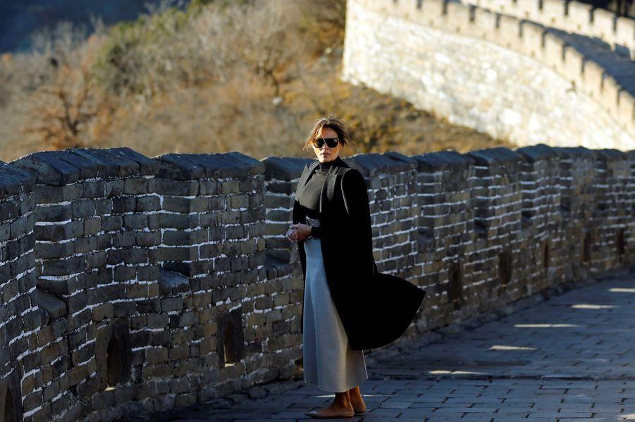 Melania Trump sur la Grande Muraille de Chine, le 10 novembre 2017.
