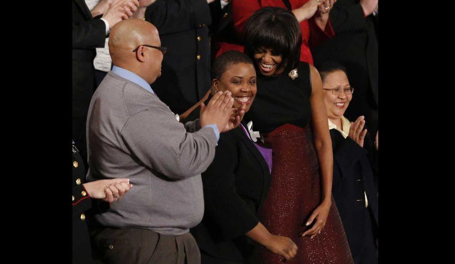 Michelle Obama avec les parents d'Hadiya