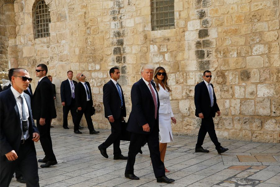 Jared Kushner, Ivanka, Melania et Donald Trump au mur des Lamentations, le 22 mai 2017.