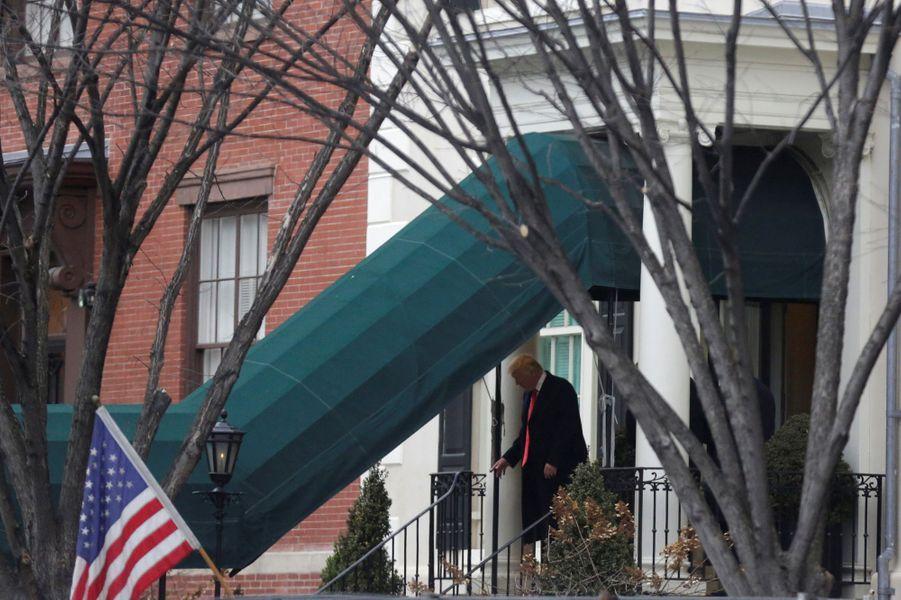 Donald Trump quittant Blair House, le 20 janvier 2017.