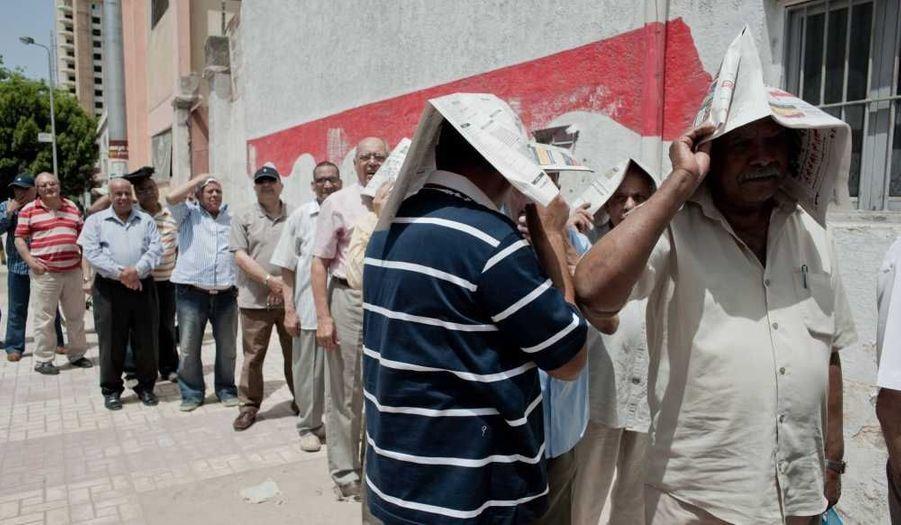 Les électeurs, contraints de faire la queue, se protègent du soleil avec les moyens du bord...