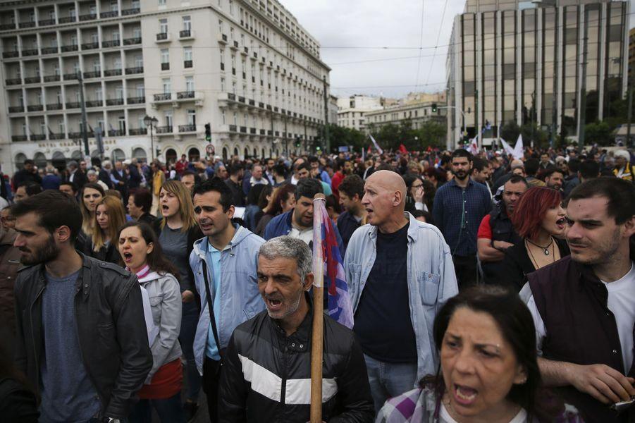 Manifestation du syndicat Pame à Athènes, le 17 mai 2017.
