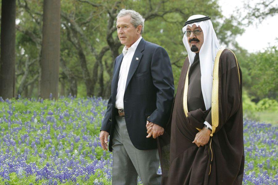 Avec George W. Bush, dans le ranch texan du président en 2005