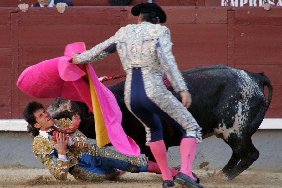 Le matadorDaniel Garcia Navarrete a été blessé dimanche 2 avril 2017, lors d'une corrida à Madrid.
