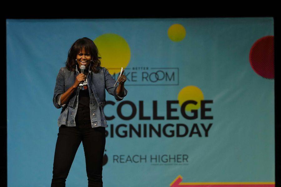 Michelle Obamaà l'université Temple de Philadelphie, le 2 mai 2018.
