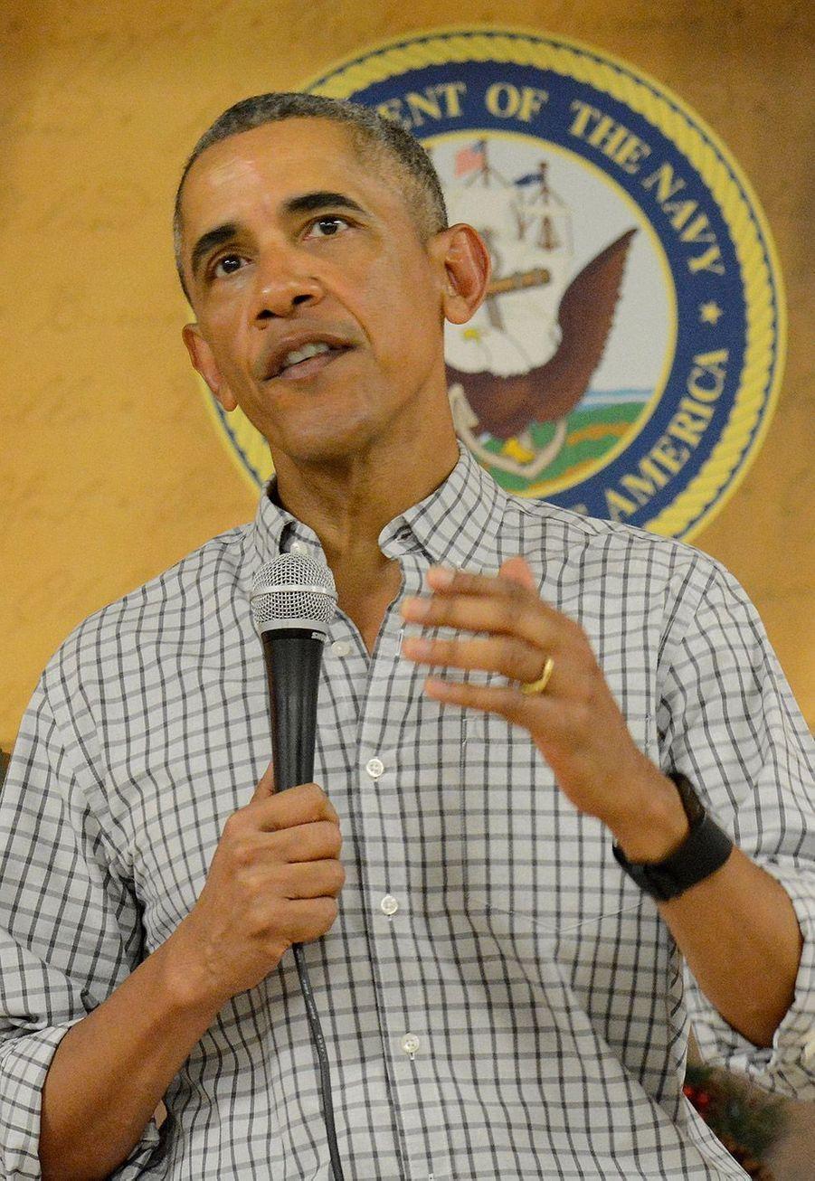 Barack Obama s'adresse aux Marines àla base de Kanoehe Bay àHawaï