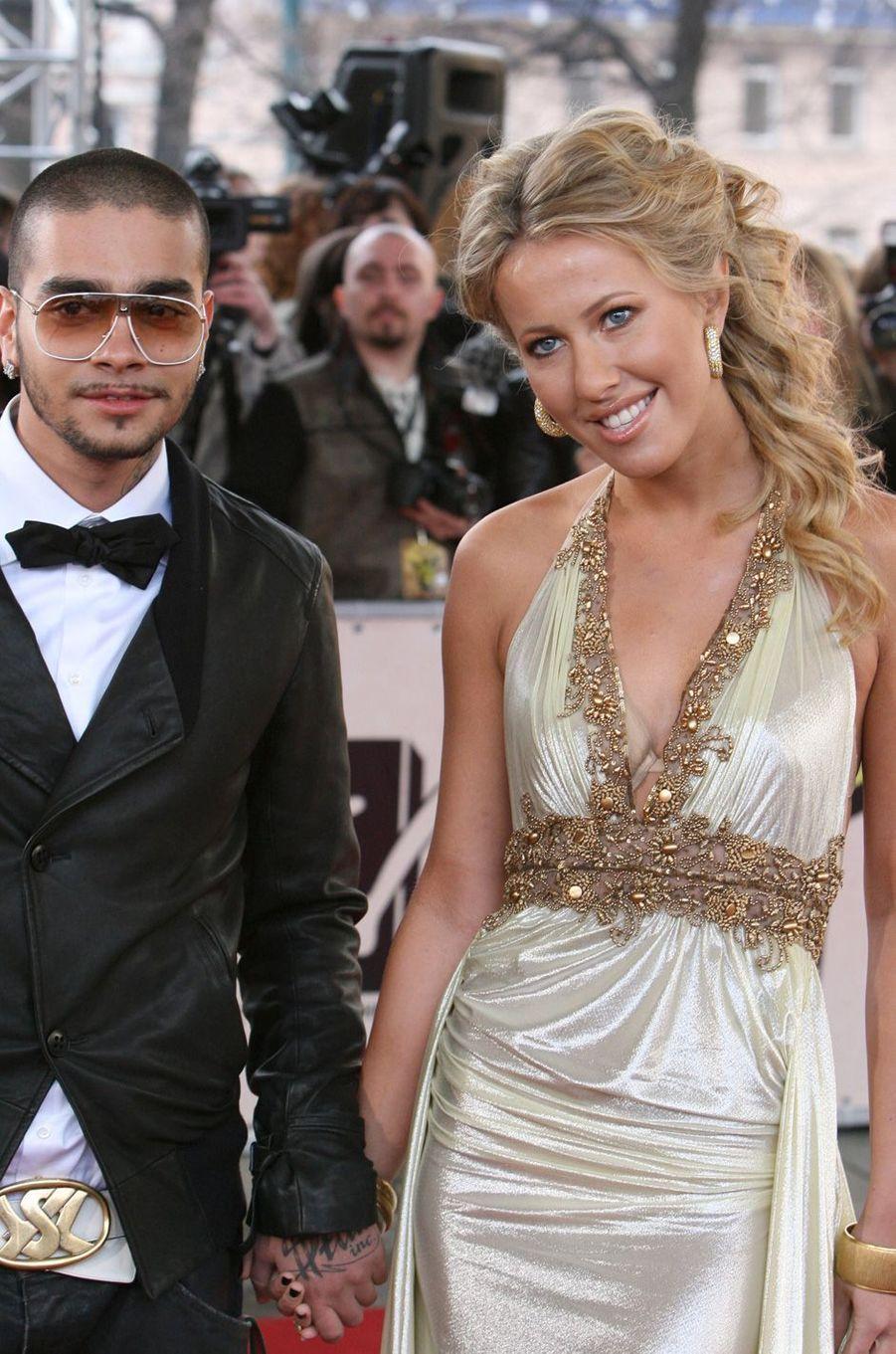 Ksenia Sobchak et le chanteur Timati aux MTV Russia Movie Awards, en avril 2007.