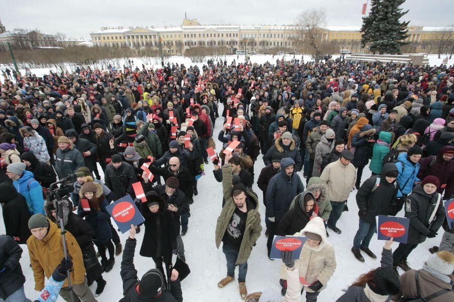 L'opposant russe Alexei Navalny a réuni ses partisans dans plusieurs villes du pays, le 24 décembre 2017.