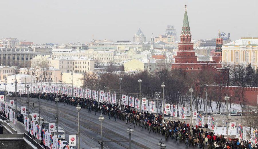 Les manifestants ont marché devant le Kremlin.