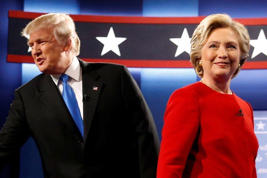 Donald Trump et Hillary Clinton lors du premier débat entre les deux candidats à l'élection présidentielle américaine, le 26 septembre 2016 à l'Université Hofstra (New York).