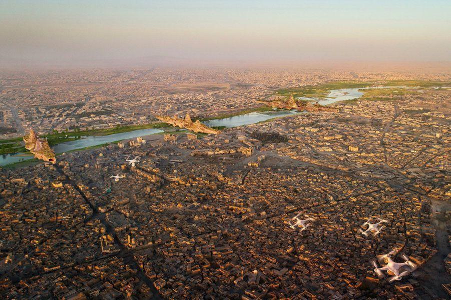 La ville de Mossoul avec les ponts illustrés par Vincent Callebaut.
