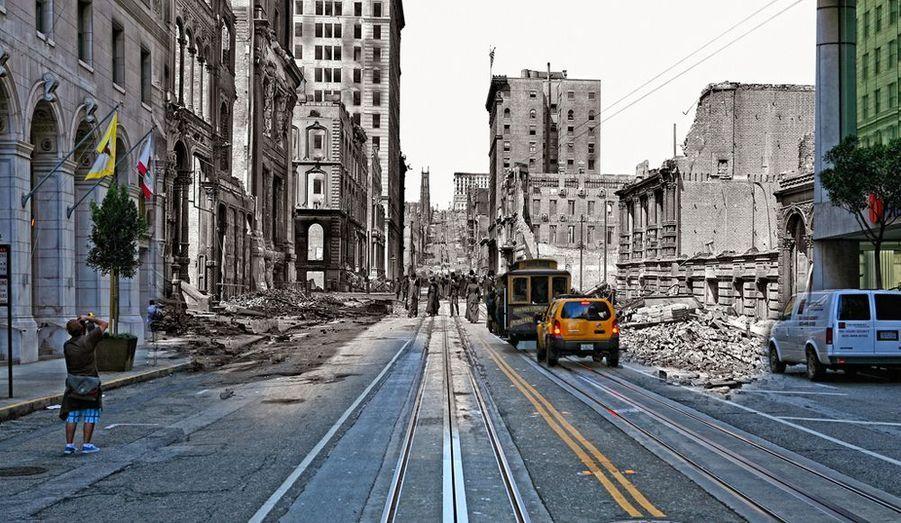 Au bout de l'une des plus longues rues de San Francisco, un paysage de ruines. Le séisme de1906 a détruit 80% de la ville.