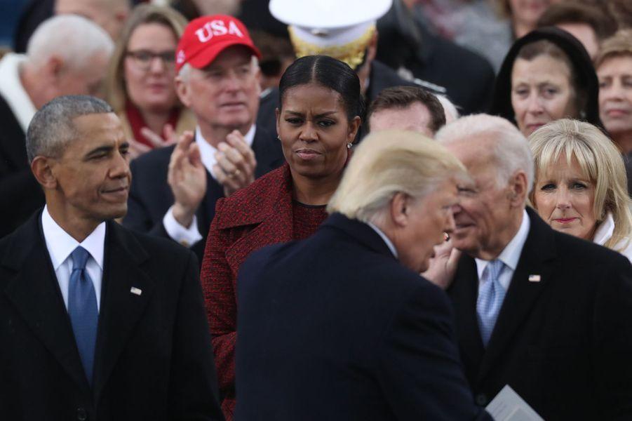 Le visage désabusé de Michelle Obamalors de l'investiture de Donald Trump, le 20 janvier 2017.