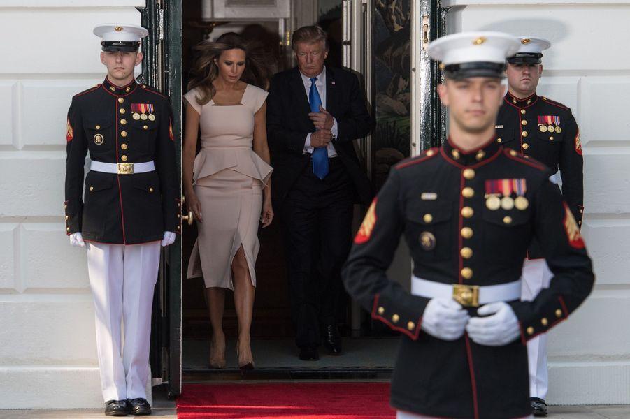 Melania et Donald Trump à la Maison Blanche, le 29 juin 2017.