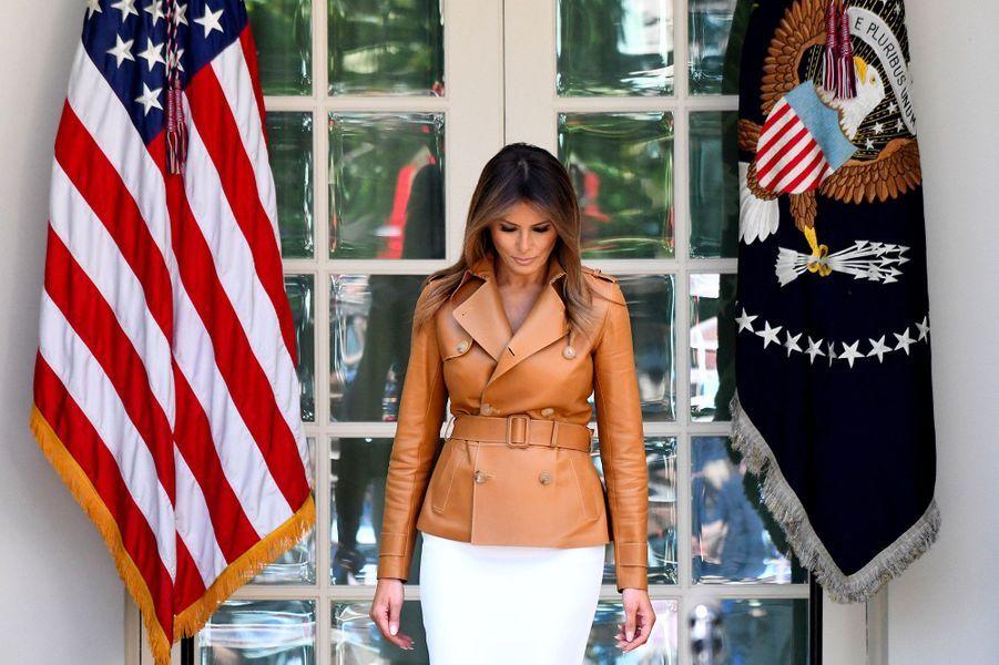 """Melania Trump, lors de sa présentation de l'initiative """"Be Best""""à la Maison Blanche, le 7 mai 2018."""